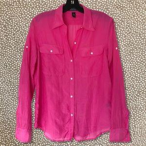 Lauren Ralph Lauren Pink Silk Blend Voile Blouse M